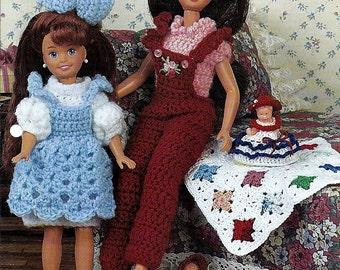 "Playtime Pals 7 1/2"" & 9 1/2"" fashion Doll Crochet Pattern Annies Fashion Doll Crochet Club FC29-02"