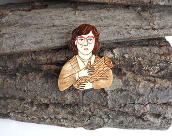 The Log Lady Twin Peaks Brooch, Plywood and Acrylic Pin, Laser Cut Jewellery
