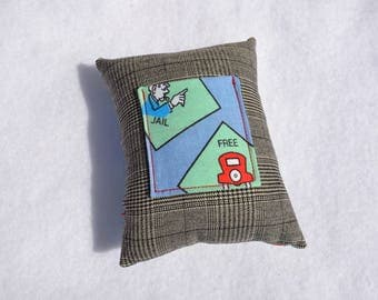 Monopoly theme inspired tooth fairy pillow, girls boys gift money gift card holder blue green black red jail free parking board game related
