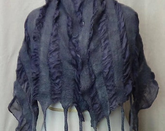 Nuno Felted merino wool scarf, Made in USA felted lightweight scarf in black and gray color great as eco friendly gift, fashion scarves