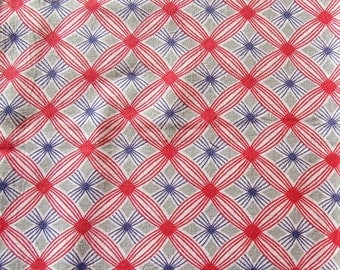 vintage FULL feed sack fabric -- red and gray geometric print