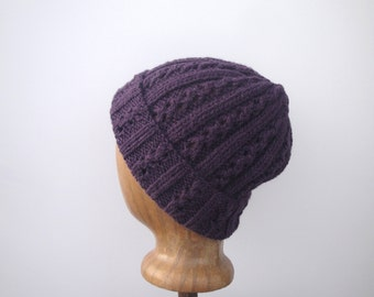 Alpaca Wool Hat, Womens Knit Beanie, Deep Purple, Watch Cap, Slouch Hat, Eyelet Lace Design