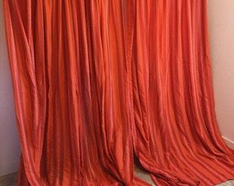 Vintage Curtains, long curtains, vintage weave curtains, long drapery, wool curtains, yarn curtains
