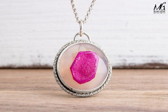 Hot Pink Druzy Agate Gemstone Necklace in Sterling Silver