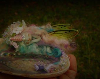sweet blue unicorn fantasy fairy   mermaid fairie fairy friend  on abalone   shell   ooak