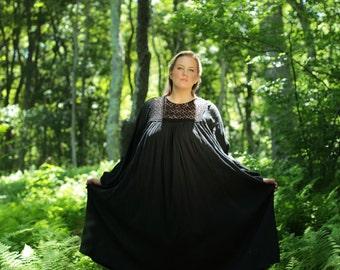 Boho Gauze Dress, PLUS SIZE / Flowy Black Cotton Dress, 70s Gauze Dress, Crochet Gauze Dress, Hippie Dress, Summer Dress, Indian Gypsy Dress