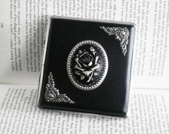 Gothic Cigarette Case Black Rose Cigarette Case Romantic Cigarette Case Card Case Womens Cigarette Case Vintage Style Case Women's Gift