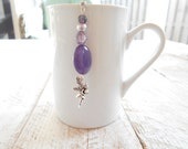 Fairy Tea Infuser, Free Shipping in USA, Mystical, Magical, Purple Stone with glass and pearl beads,U.S.A Made Charm, Gift Boxed