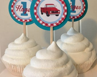 RED TRUCK Theme Happy Birthday or Baby Shower Cupcake Toppers 12 {One Dozen} - Party Packs Available - Red Blue