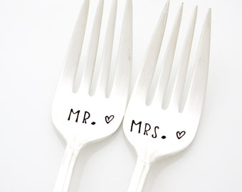 Wedding Forks, Mr and Mrs stamped forks for unique engagement gift idea. Engraved lettering by hand.