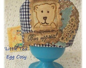 Little Ted -Too CUTE Egg Cosy, Crazy patchwork, primitive hand drawn, hand embroidered in Australia