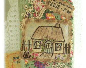 Cottage Garden -Smartphone, Glasses Case , Crazy patchwork, primitive hand drawn, hand embroidered in Australia