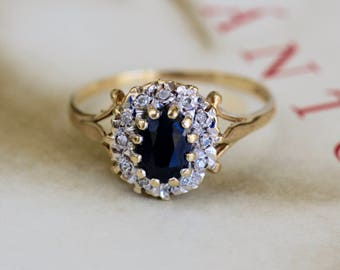 Victorian Revival Sapphire Halo Ring, Vintage Gold Sapphire Cluster Ring, Sapphire Diamond Anniversary Ring, Alternative Engagement Ring