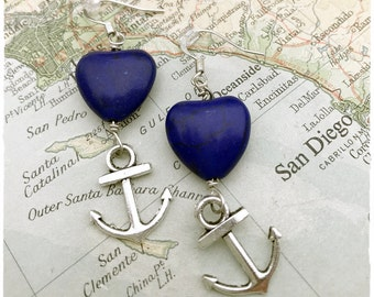 US Navy Anchor  and heart earrings by Son and Sea FREE US shipping