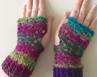 READY TO SHIP Fingerless Gloves - Wrist Warmers for Women/Teens - Rainbow Jewel Tones