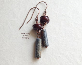 Red Brown Lampwork Glass Earrings with Earthy Blue Tube Bead Dangle, Dumortierite Stone, Unique Handmade Copper Boho Jewelry