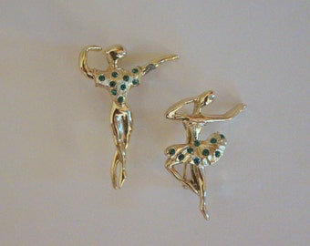 Dance - vintage 1950s Ballerina and Male Dancer Scatter Pins - Gold and Emerald Green Rhinestones, brooch, ballet