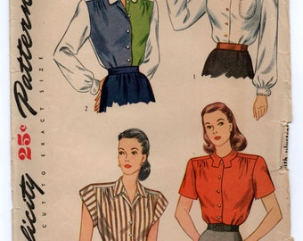 """1940's Simplicity Blouse Pattern with Two Sleeve Lengths - Bust 32"""" - No. 1538"""
