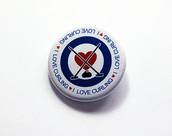 Curling pin, I Love Curling, Curling bonspiel prize, Pinback buttons, Lapel Pin, Gift for curler, Winter sports, loves curling pin (7275)