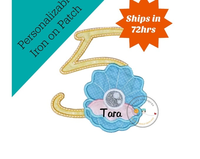 Clam shell with pearl birthday number 5 iron on path, embroidered fabric applique for kids clothing, under the sea fifth birthday patch