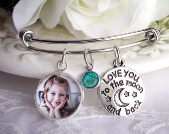 Love You to the Moon & Back Birthstone Bracelet Moon Charm Bracelet Gift for Aunt Daughter Gift Mother's Bracelet Gift for Mom Grandmom Gift