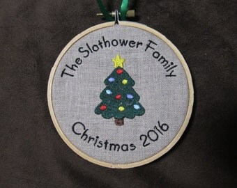 Personalized Christmas Family Ornament - Rustic Ornament - Embroidery hoop ornament - Makes a great gift