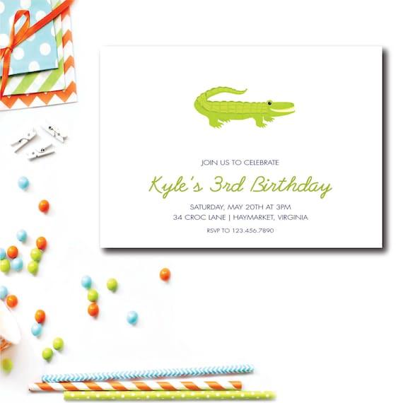 crocodile invitation 5x7 birthday invitations alligator birthday