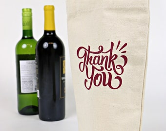 Wine Tote - Recycled Cotton Canvas - Red Thank You