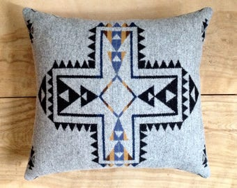 Wool Pillow - Gray Native Tribal Arrow Southwest Bohemian