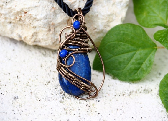 Lapis Lazuli necklace Blue Gemstone wire wrapped drop pendant Natural stone Cool Boho chic gift for her/Girlfriend/mother