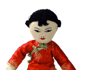 """Vintage Asian Doll Chieh Chieh """"Elder Sister Crafts Department Of World Service  Hong Kong"""""""