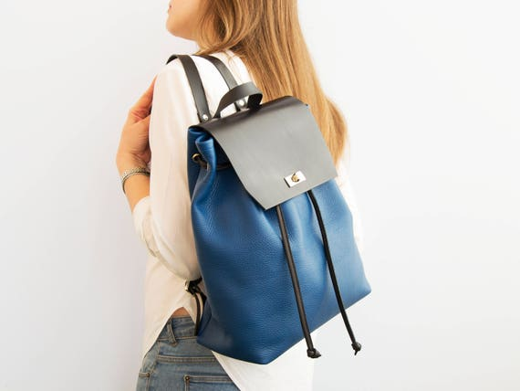 Blue and black BACKPACK / leather backpack / leather rucksack / womens backpack / minimal backpack / made in Italy