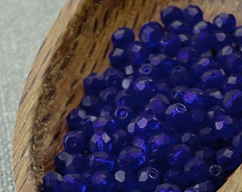 Dark Blue Czech Fire Polished Beads 4mm (50) Round Glass Small Polish Faceted Frosted Matte 4mm blue beads