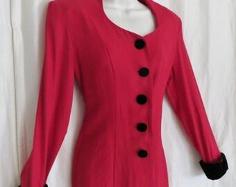 Vintage 80s womens jacket, dressy red black suit jacket, corset back size S M L