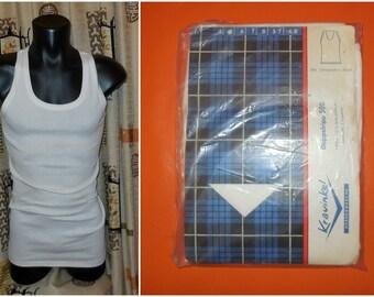 DEADSTOCK 1960s Men's Undershirt Krawinkel White Ribbed Underwear Unworn NOS Rockabilly Tank Top German in package Size 5 S