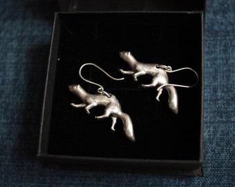 Ferret Earrings, mink, weasel, Sterling Silver