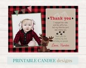 Moose Thank you, Deer Party Thank you, Lumberjack Thank you, Buffalo Plaid 1st Birthday, Photo thank you card, Printable DIY