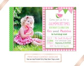 Pink Watermelon Birthday Invitation - Watermelon Birthday - Summer Birthday - Picnic Party - Watermelon Invitation - DIY Custom Printable