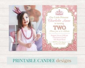 Princess Birthday Invitation, Princess 1st Birthday, Pink and Gold Birthday, Pink and Gold Glitter Birthday, Princess Party