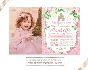 Princess Birthday Invitation, Pink Princess, Princess Castle Party, Glitter Princess Birthday, Floral Princess Invite, Printable