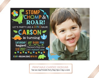 Dinosaur Birthday Invitation, Dinosaur Invitation, Dinosaur Birthday Party Invite, Chalk Dino Birthday Invitation, First 1st Birthday Boy