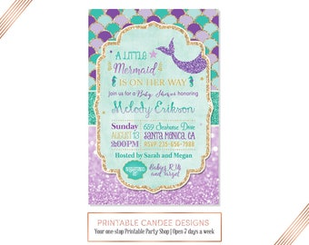 Mermaid Baby Shower Invitation Mermaid Shower Purple Teal Gold Sparkle Baby Shower Under The Sea Baby Shower