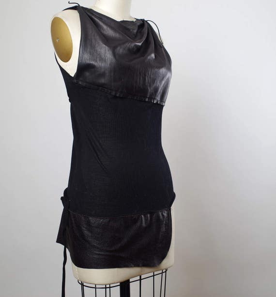 Black Leather Top - Womens Black Top - Leather Top Blouse - Dark Fashion - Women's Top Tunic