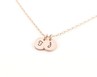Personalized Initial Necklace, Tiny Rose Gold Disc, Gift for Mom, Gift for Her, Monogram jewelry,Silver Disc Necklace