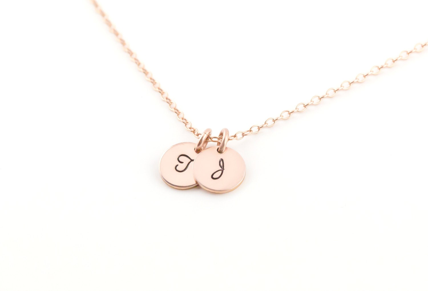 personalized initial necklace tiny rose gold disc gift for. Black Bedroom Furniture Sets. Home Design Ideas