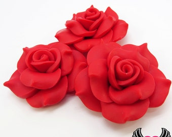 42mm Red Polymer Clay Rose Flatback Cabochons ( 3 pieces ), Flower Cabochons, Large Flower, red flowers