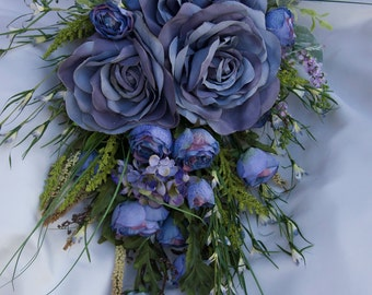 Brides Wedding Bouquet Blue Lavender Full Bloom Roses 13 piece Set