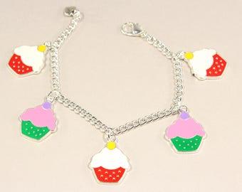 Girls Cupcake Bracelet Girls Birthday Bracelet Girls Charm Bracelet Girls Jewelry Girls Bracelet
