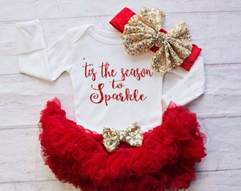 Girl Christmas one piece Clothing..'Tis the Season to Sparkle Bodysuit..Red Christmas bodysuit..Baby First Christmas Outfit