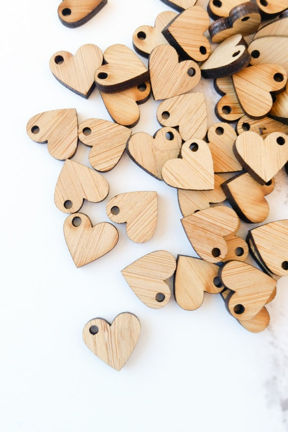 Mini wood heart charms, 1/2 inch blank wood tag, unfinished bamboo heart for crafting, Valentine's Day craft